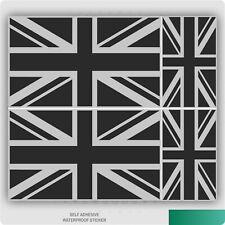 4 x Union Jack Flag Sticker - Metallic Silver & Black Great Britain Vinyl Decal