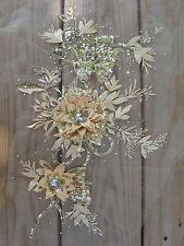 """16-1/2"""" Gold 3D Embroidery Sequin Rhinestone Flower Sewing Appliqué Trim Patch"""