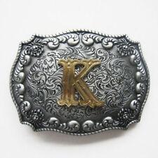 "Initial Letter ""K"" Cowboy Rodeo Western Metal Belt Buckle"