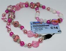 Neck Lanyard - Dazzling Pink and White Crystal Beads with Silver Bead Detail