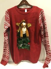 Ugly Christmas Sweater Womens No Boundries Tree Garland Reindeer XL