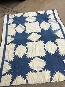 "Vintage Handmade Hand Sewn Quilt 64x79"" Shabby  Blue White"