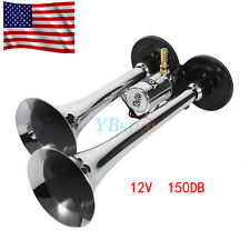 12V 150db Super Loud Dual Trumpet Air Horn Trumpet Car Vehicle Truck Train Boat