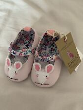 Joules Baby Girl Pram Shoes 6-12 Months Pink Mouse Brand New With Tags