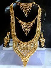 3 Speps Indian Wedding 22k Gold Plated 11'' Long Rani Haar Necklace Earrings Set