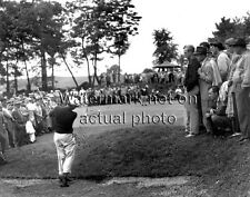 Ben Hogan 1950 hitting out of a bunker - superb golf photo - Masters champion