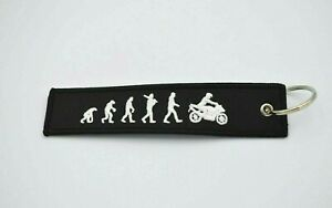 Embroidered Fabric Motorcycle Evolution Keyring