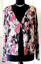 East Gorgeous Black Pink & Cream Floral Silky Pleated Crinkle Sequin Jacket L