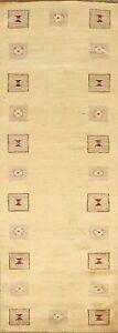 3'x8' Bordered Modern Gabbeh Kashkoli Oriental Runner Rug Tribal Hand-knotted
