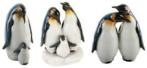 Penguin Pair, Parent & Chick/Family Polished Stone Gloss Effect Statue Boxed