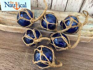 "(6) x 2"" Cobalt Blue Glass Fishing Floats - Fish Net Buoy Ball w/ Rope Netting"