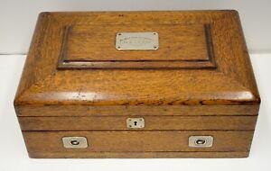 1907 Oak Flatware Jewelry Chest Box Trorey Vancouver BC Golf Country Club Vtg
