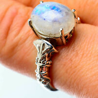 Rainbow Moonstone 925 Sterling Silver Ring Size 8.25 Ana Co Jewelry R25442F