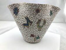 Vintage Bitossi Italian Pinch Vase with Animals, Flowers & White Glaze Design