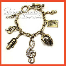 VINTAGE Retro Bronze PUNK MUSIC NOTE CRYSTAL CHARM LADY GIRL Bangle Bracelet 10