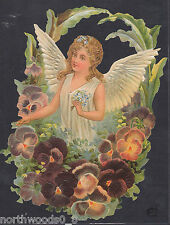 Angel Pansy Wreath Spring Floral Botanical Embossed German Paper Scrap Card