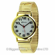 Ravel Mens Gents GOLD WATCH Colour Expandable Strap BOLD Numbers Great Value