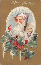D68/ Santa Claus Merry Christmas Holiday Postcard 1910 Minerva Ohio Purple Suit2