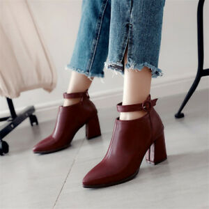 Fashion Womens Pointed Toe Ankle Boots Buckle Block Heels Leather Casual Shoes