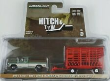 1:64 GreenLight 1969 Ford F-100 w/ Bale Throw Wagon Trailer Hitch & Tow 15