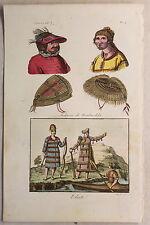 América Alaska Grabado para 1825 Sasso coloreado a mano Gráfico Traje típico
