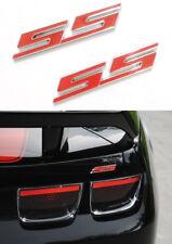 2pcs Metal Red SS Rear Trunk Emblem Badge Fender Side Decal Fit Cobalt Camero