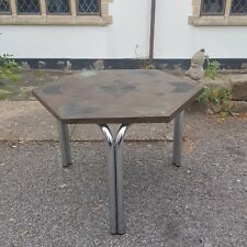 A Very Funky & Retro Hexagonal Top Table with Chrome Legs & Interesting Design