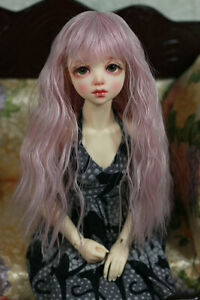 "1/4 6-7"" BJD DOLL WIG MSD UNOA FAIRYLAND PASTEL PINK WAVY BANGS JR-72 NEW USA"