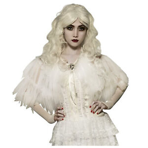 Womens Gothic White Lace Capelet Victorian Steampunk Ghost Costume Shoulder Cape
