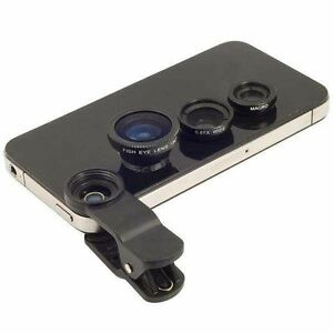 3in1 BLACK Fish Eye+Wide Angle Macro Lens Camera for iPhone 6 6 PLUS 5s Samsung