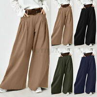 ZANZEA UK Women Elastic Waist Pleated Wide Leg Trousers Solid Cotton Loose Pants