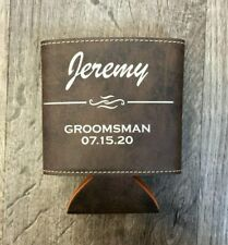 Groomsmen Gift | Personalized Leather Can Holder Koozie | More Colors Available!