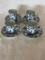 LOWER PRICE!! 4 BLUE ONION DEMITASSE CUPS AND SAUCERS GREAT BUY!!