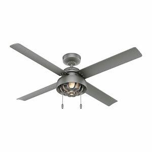 Hunter Fan Company Spring Mill 52 Inch Indoor Outdoor Ceiling Fan Light, Silver