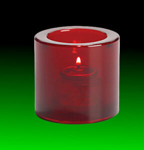 Tealight Candle Holder Clear Ruby Red, Hollowick 5140R for HD-8 Liquid Wax