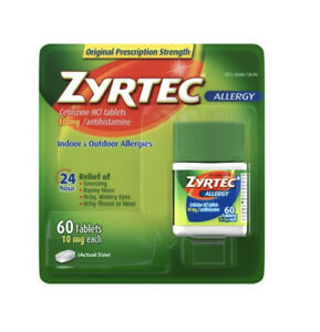 Zyrtec Allergy Relief 10mg Tablets - 60 Count Expiration-09/2023