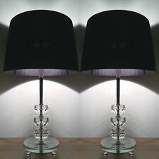 Pair of New Modern Desk Bedside Table Lamps with Crystals on Stem Glass Base