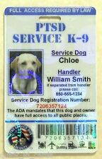 HOLOGRAPHIC PTSD SERVICE DOG ID CARD ASSISTANCE ANIMAL ID BADGE ADA TAG 1 PTSD H