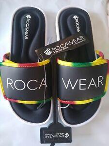 NWT ROCAWEAR SLIDES SLIDE SANDALS RASTA JAMAICAN RASTAFARI BLACK KIDS YOUTH 7