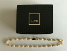 "Ankle Bracelet Large 9 1/2"" Iob Av-9 Avon 1994 Gold Tone Faux Pearl and Chain"