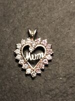 "Vintage 925 Silver Crystal Heart ""Mum"" Pendant in Pink & White Mother's Day"
