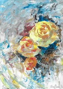 original painting A3 292MG art samovar modern Mixed Media flowers roses
