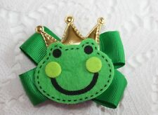 Prince Charming Green Frog Kids Hair Bow Clip fun unique Free Shipping Usa
