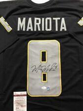 Autographed/Signed MARCUS MARIOTA Oregon Ducks Black Jersey JSA & GTSM COA Auto