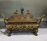 Vintage Collectible Decorated Old Handwork bronze Carved Dragon Incense Burner