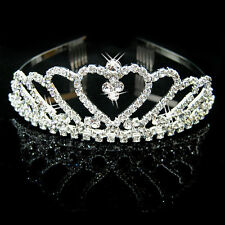 Bridal Rhinestone Crystal Crown Headband Veil Tiara Wedding Pageant Bridal Prom