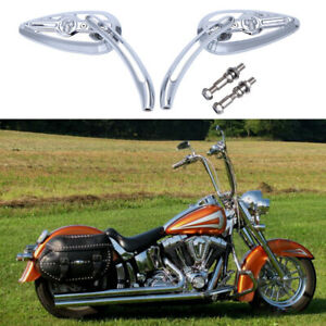 For Harley Davidson Heritage Softail Classic FLSTC Motorcycle Skull Side Mirrors