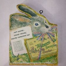 Whitman's Chocolate Bunny wood Ornament~ Vtg Image ~ Glitter