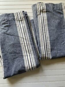 Pottery Barn Curtain 2 Panels Stripe Navy Blue White Chambray Linen Cotton 50x84