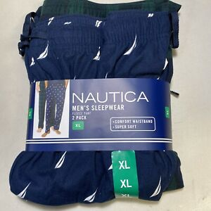 Nautica Mens Fleece Pajama Pant Lounge Plaid Sailboats 2-Pack XL NEW